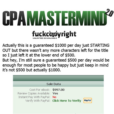Product picture CPA Mastermind 2.0 - $500/day within 1 week Selling Price is